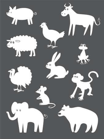silhouettes elephants: Animales abstractos establecidos