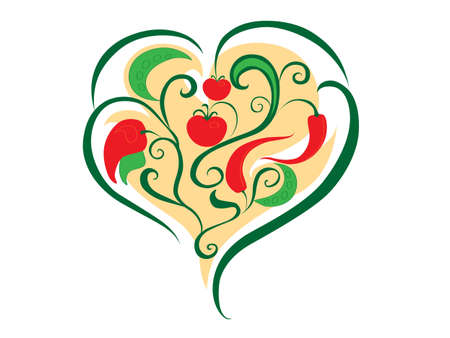 abstract heart of vegetables