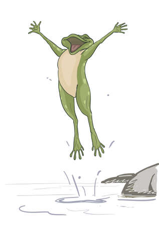 Happy frog is jumping