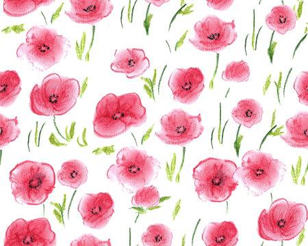 Pastel drawn poppies, seamless pattern