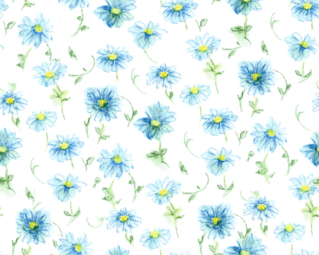 Pastel drawn chamomile, seamless pattern