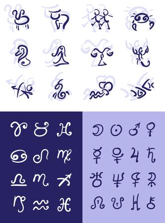 Astrological symbols set, zodiac and planet
