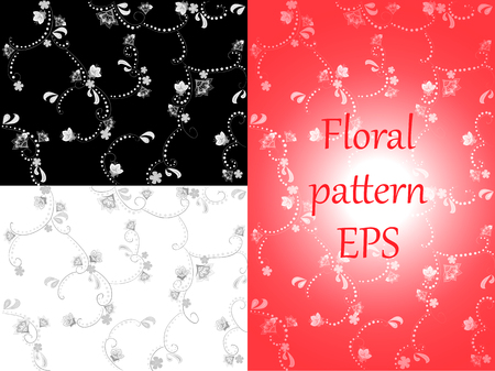 Floral pattern. Wallpaper grayscale ornament