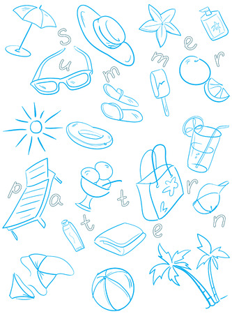 one color: Summer pattern, sketch set in one color Illustration