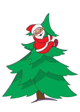 Santa is sitting on a big NewYear Tree