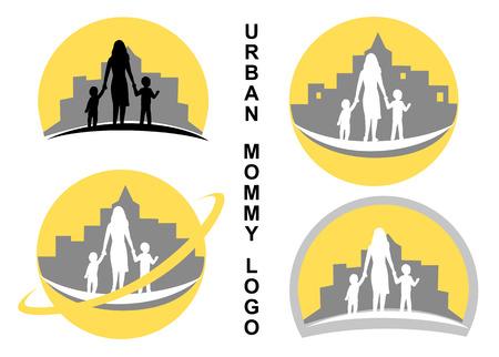 Urban mother with children - elements for logo Illusztráció