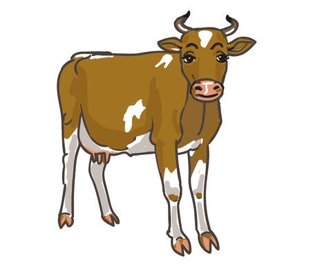 Yellow cow, cartoon Illustration