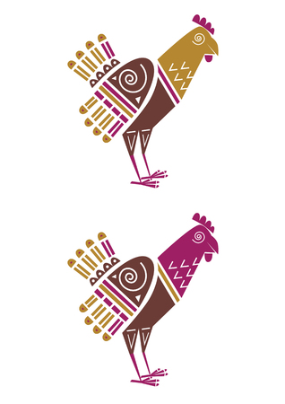 Chicken, hen or rooster in Indian style, stylized isolated