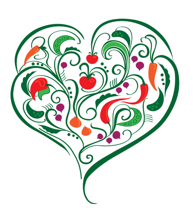 Vegetable heart, decorated with leaves and curves