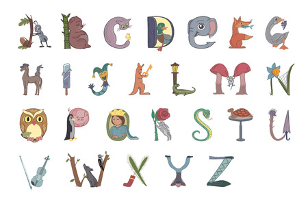 Cute colorful children A-Z alphabet for kids. Learning English vocabulary. Alphabet in form of animals and subjects. Flat design illustration