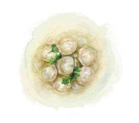 Dumplings in broth, drawn with watercolor