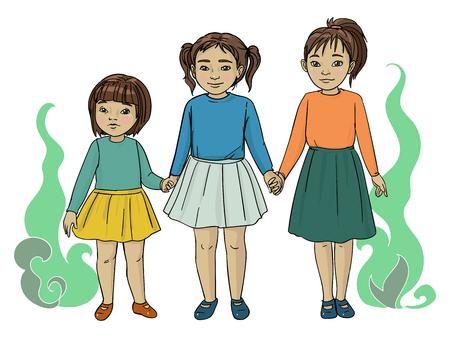 Drie kleine Aziatische zusjes, illustratie Vector Illustratie