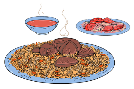Uzbek pilaf, rice with meat and Achuchuk salad, with tomatoes, and cup of tea Illustration