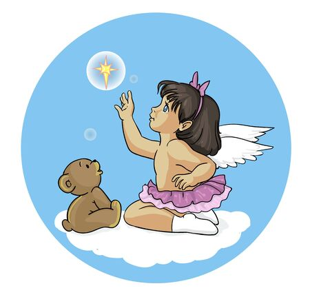 Angel girl with a teddy bear and the star Illustration
