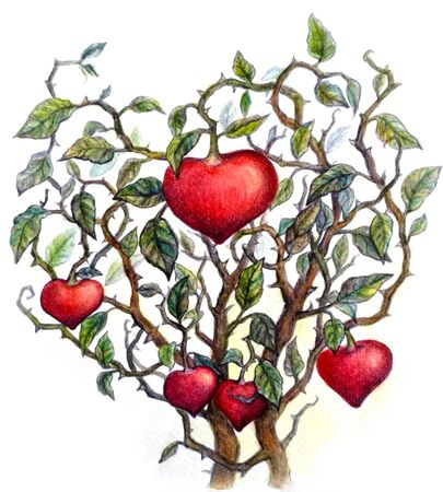 bush with hearts, watercolor
