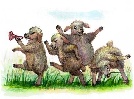 Funny sheep graze, illustration Standard-Bild
