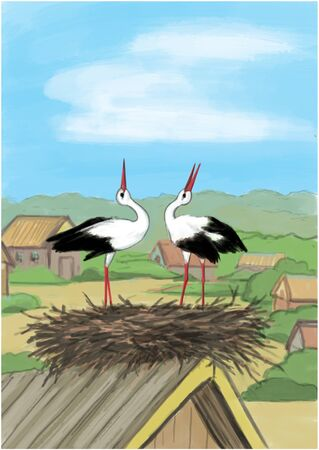 2 storks in nest on the house, illustration