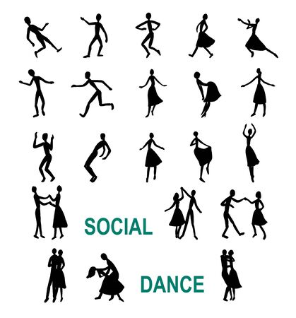 social dancing, abstract silhouettes