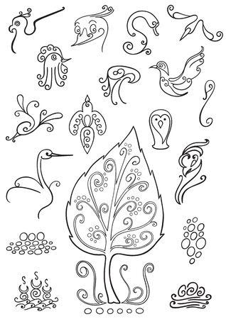 Bird symbols, logo and ornament elements Illustration