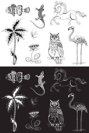 Decorative elements for bars, shops. Coloring book for adults Illustration