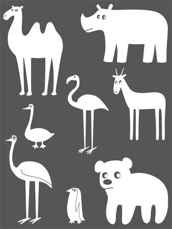 Abstract animals set Çizim