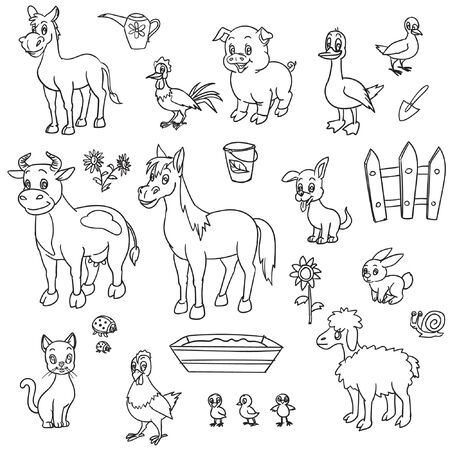 Farm animals for coloring book Illustration