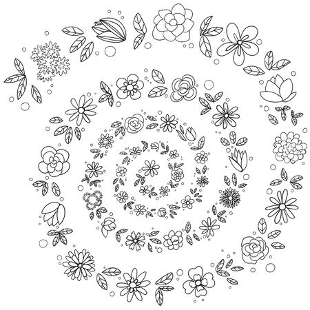 sketch flowers in a spiral, ornament monochrome