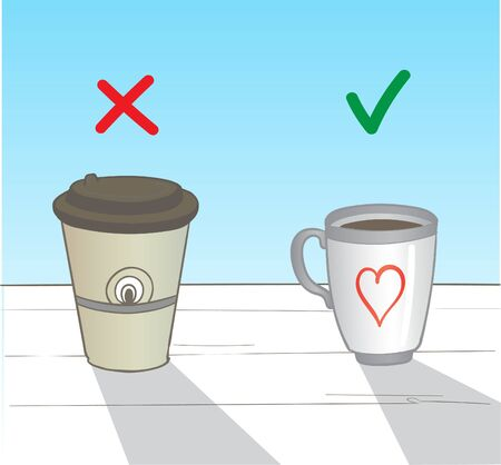 dont drink from a paper cup, drink from your mug Ilustracja