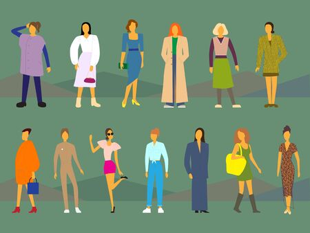 fashion trends for women, simplified illustration