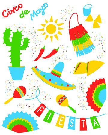 Cinco de mayo set for mexican holliday Illustration