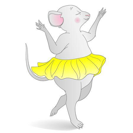 Dancing mice in yellow skirt, illustration Illustration