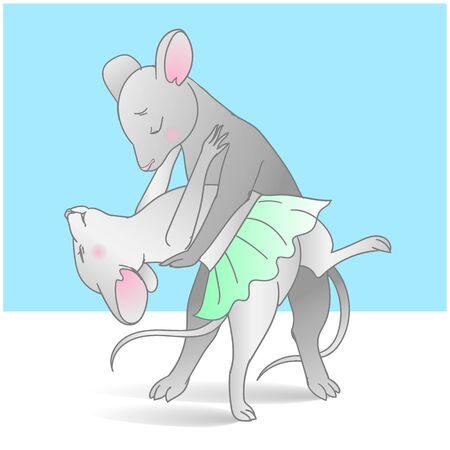 2 dancing mice on the dance floor, illustration