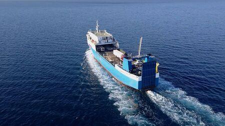 Ro Ro Ship: Aerial view of a medium RoRo Vehicle carrie vessel cruising at sea. Archivio Fotografico