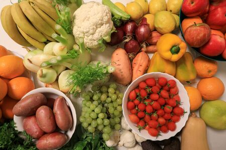 A variety of fruits and vegetables