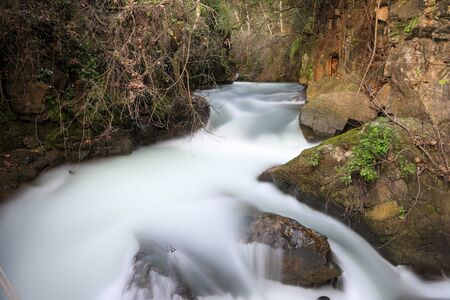 The Banias River in Israel. Long exposure photography of water flow in a river.