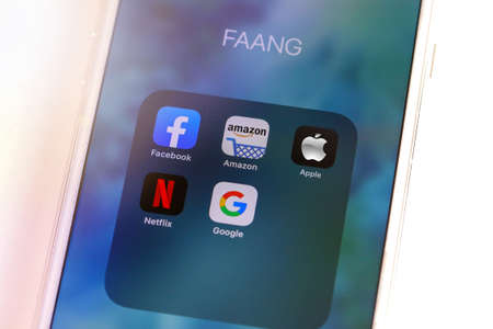 Tel Aviv, ISRAEL - May 28 2020 : FAANG Big Tech icons (Facebook, Amazon, Apple, Netflix & Google). FAANG is an acronym Of the 5 strong stocks in the Nasdaq technology stocks index.