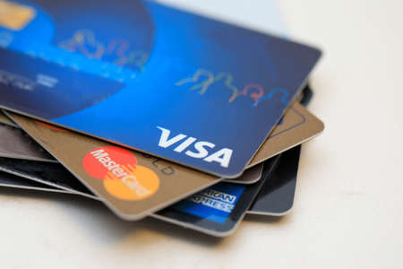 Tel-Aviv, Israel - January 26, 2020: Credit cards major brands. VISA, MasterCard and American Express.