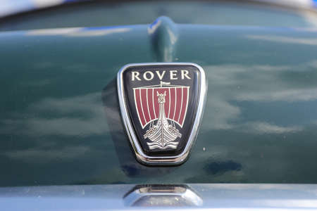 North district, Israel - May 4, 2020: Land Rover sign. Land Rover vintage car front sign logo ancient.