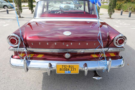 North district, Israel - May 4, 2020: Vintage American car Studebaker logo.