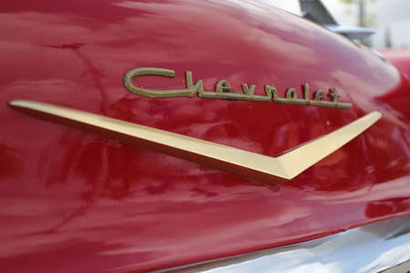 North district, Israel - May 4, 2020: Vintage red Chevrolet Rear logo.