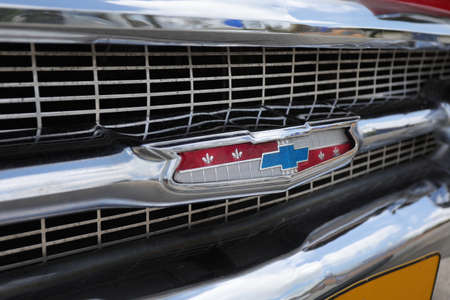 North district, Israel - May 4, 2020: Vintage red Chevrolet Bel Air grill and hood. 報道画像