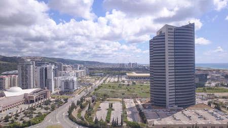 Haifa, Israel - May 10, 2020: Haifa south district, Kastra mall, Electric National Company building, and Neot Peress neighborhood. High-quality photo.