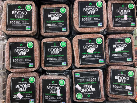 Tel Aviv, Israel - 5 October, 2020: Beyond Meat brand plant-based Beyond Beef packages in the meat section of grocery store. Editoriali