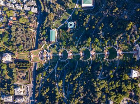 Bahai garden and the temple in Haifa, Israel. Aerial View. 免版税图像
