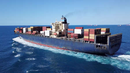 ULCV fully loaded with freight Container. Ultra-large container vessel.