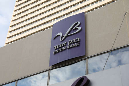 TEL AVIV, ISRAEL - November 23, 2020: Sign of a Union Bank on one of the branch buildings.