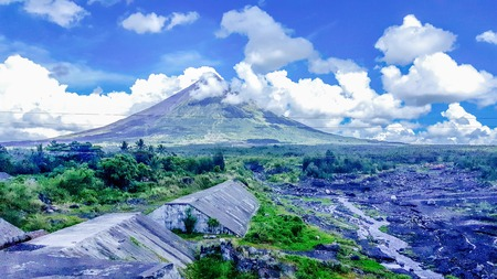 lava: mayon volcano andcthe gullies where the lava flows during eruption