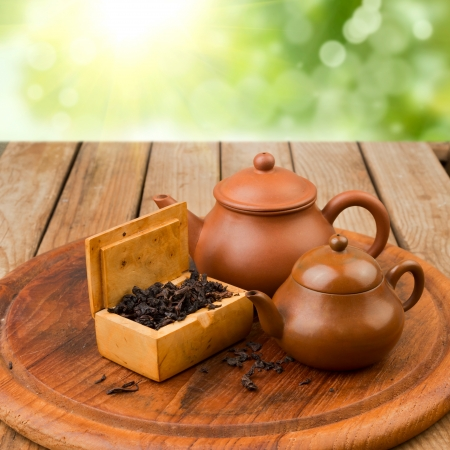 Chinese tea with traditional tea pots on wooden table Stock Photo - 20814990