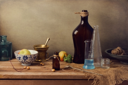 Vintage farmacy still life on wooden table photo