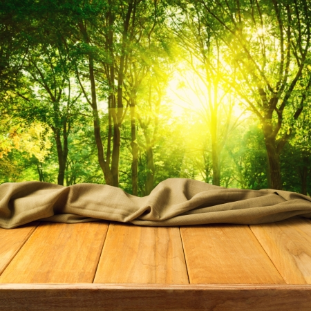 Empty wooden deck table with fabric cloth over forest background Stock Photo - 21186424